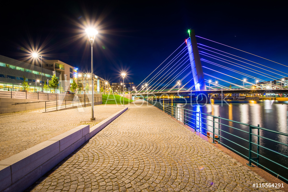 Crusell Bridge at night, over the Ruoholahti Canal, in Helsinki,