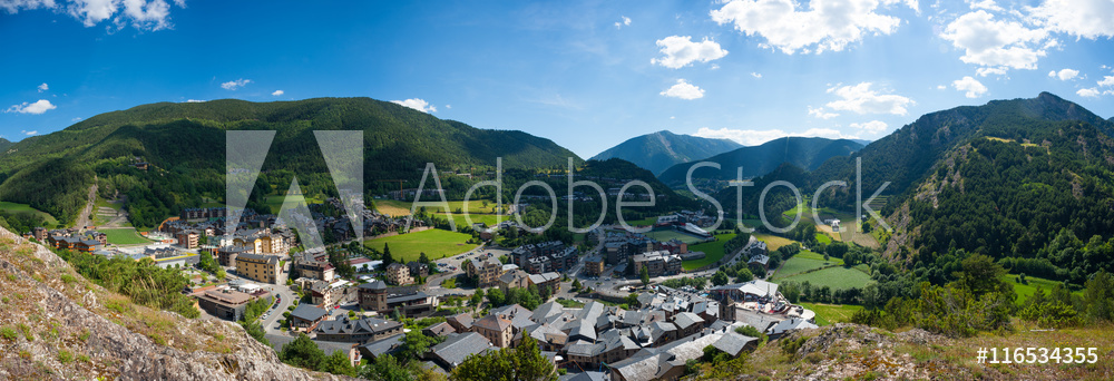 Andorra, view from the mountain on Ordino. Panorama, summer. Pyrenees.