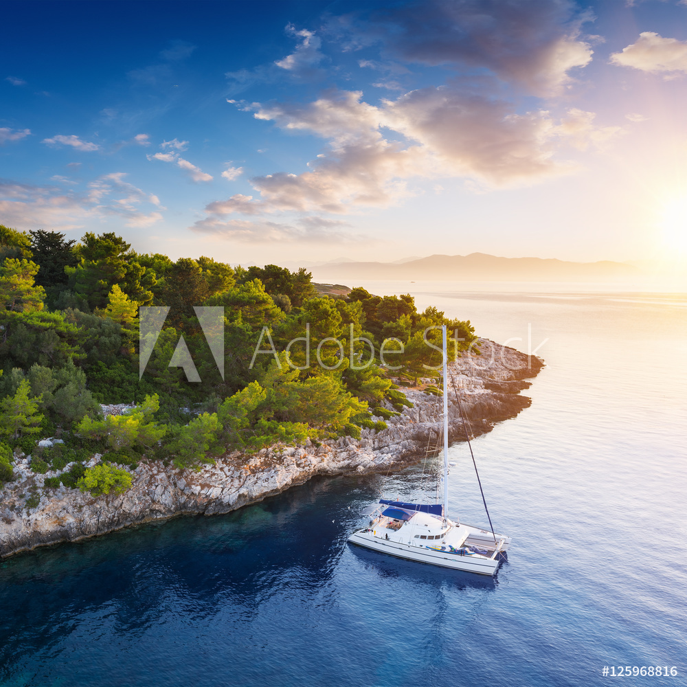 Yacht in amazing bay of pure Greece Sea