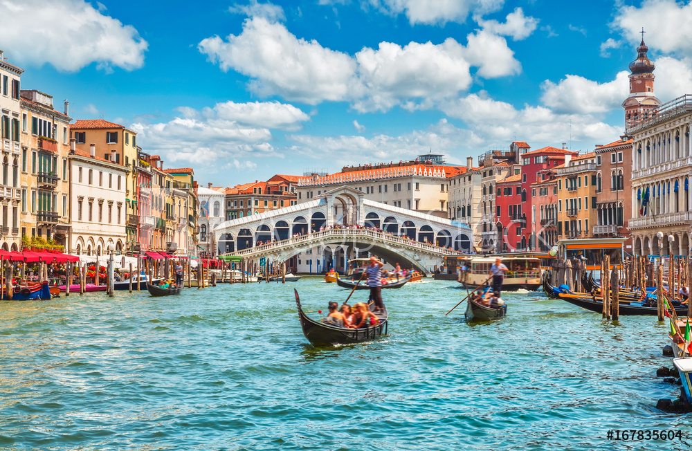 Bridge Rialto on Grand canal famous landmark panoramic view