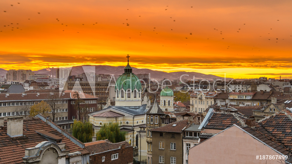 Sofia Bulgaria Beautiful sunset over Temple St. St. Cyril and Methodius against the backdrop of Vitosha Mountain