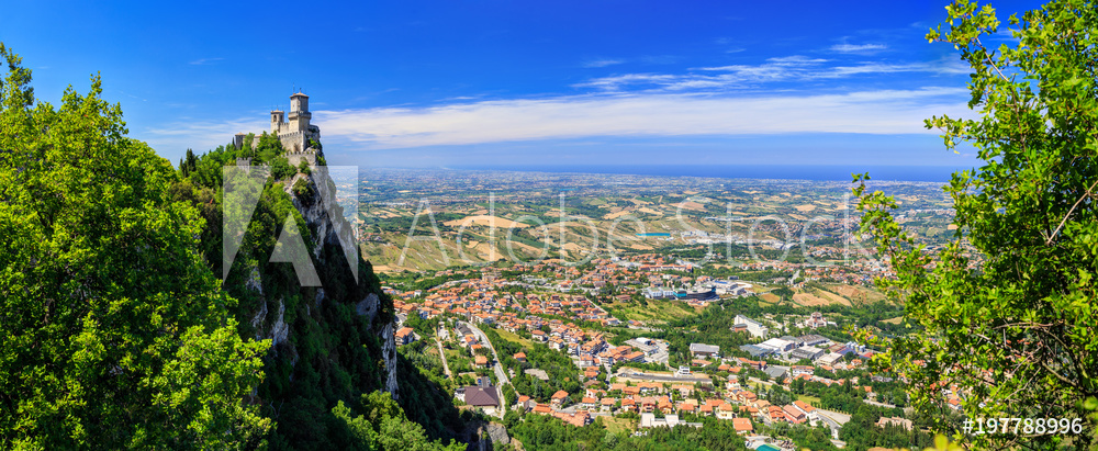 Beautiful Panorama of San Marino and Italy from Monte Titano Mountain. Fortress Guaita is the most famous tower of San Marino.