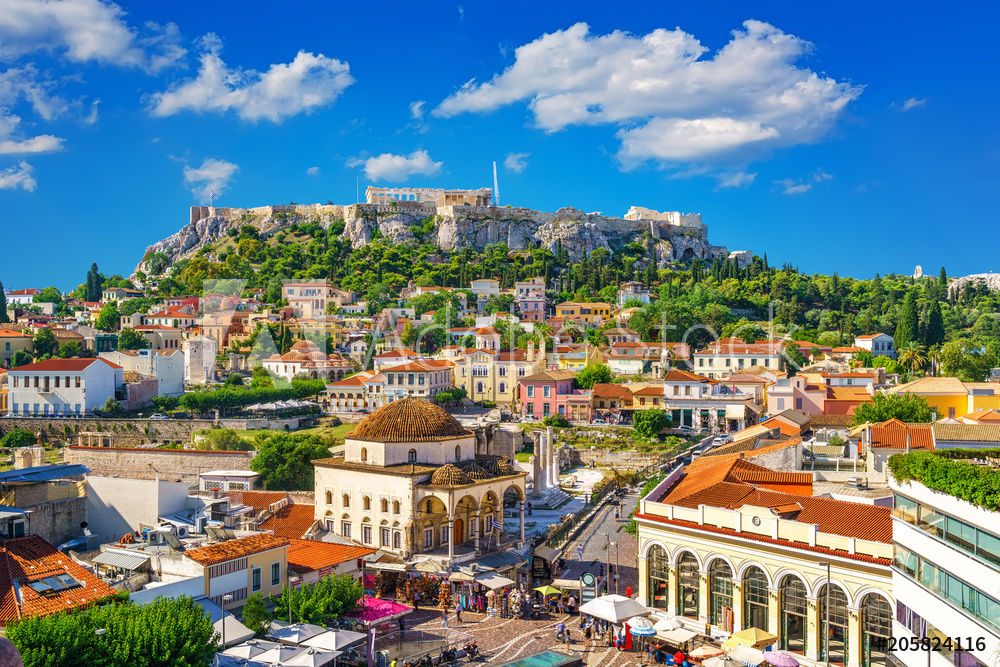 View of the Acropolis from the Plaka, Athens, Greece