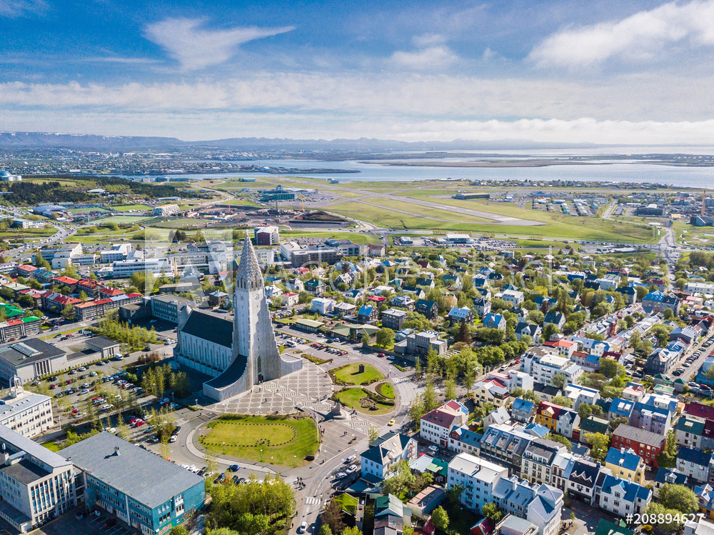 Reykjavik Iceland city scape frop the top with Hallgrimskirkja church. Aerial photo. religious building