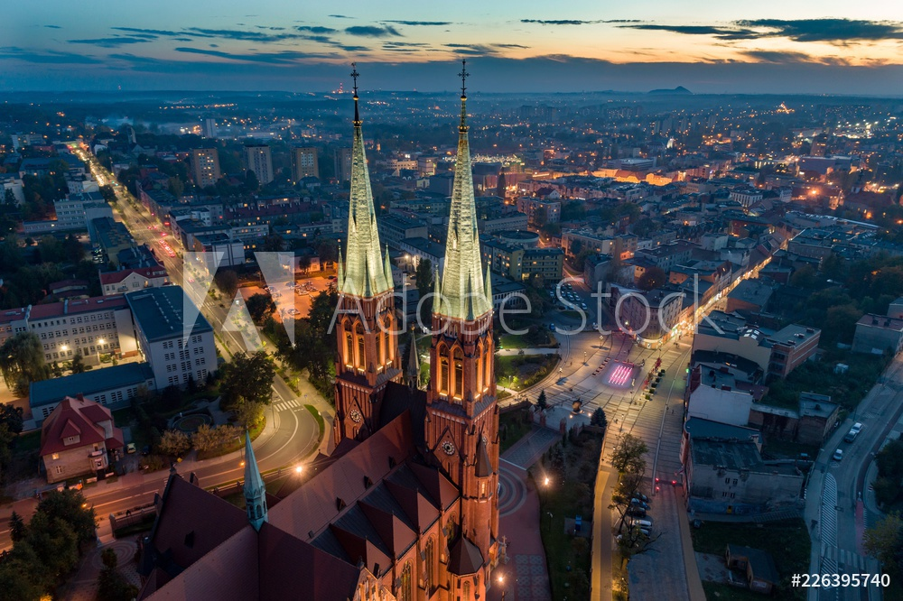 Aerial drone view on Basilica and city center in Rybnik.