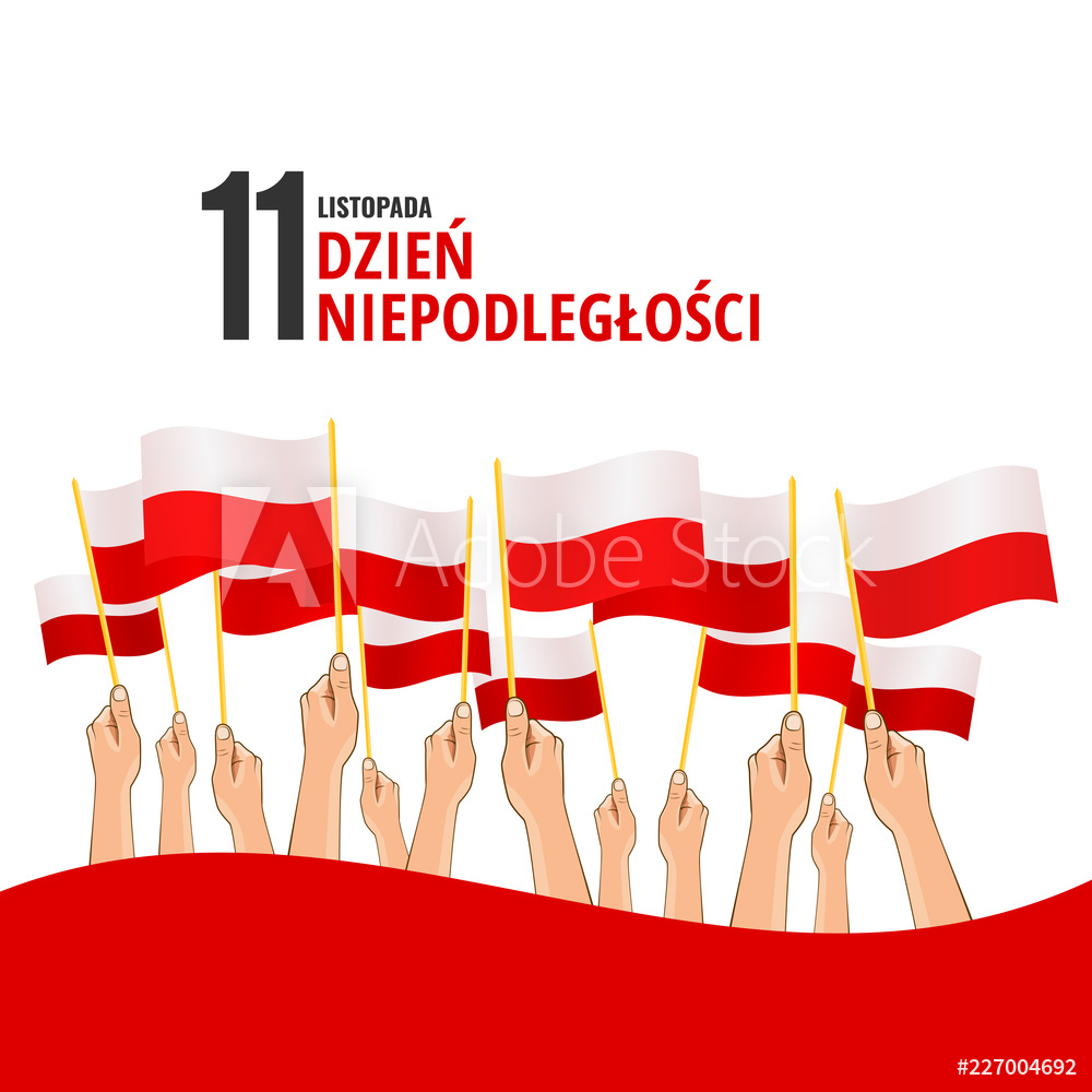 Vector Illustration on the theme Independence Day of Poland.  Hands with Poland flags