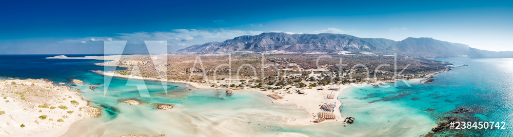 Aerial view of Elafonissi beach on Crete island with azure clear water, Greece, Europeof Elafonissi beach on Crete island with azure clear water, Greece, Europe