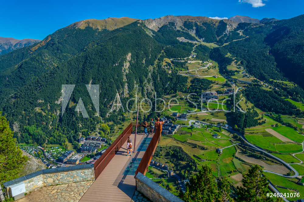 Aerial view of Canillo town viewed from Roc del Quer viewpoint at Andorra