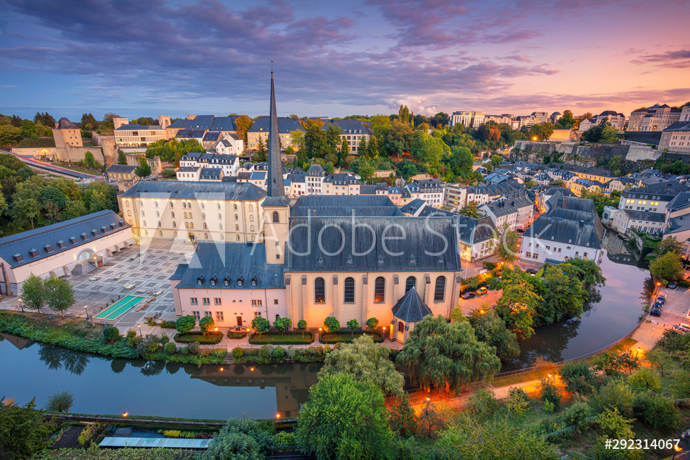 Luxembourg City, Luxembourg. Aerial cityscape image of old town Luxembourg City skyline during beautiful sunset.