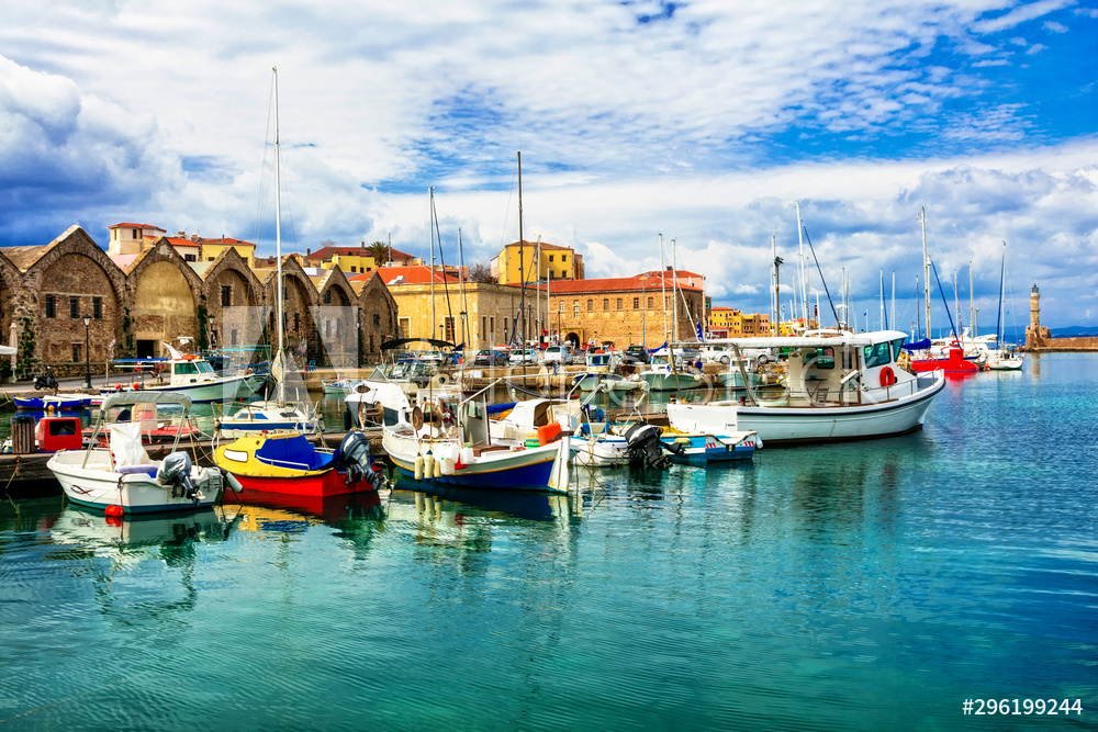 Travel in Greece - beautiful pier of old town Chania in Crete island