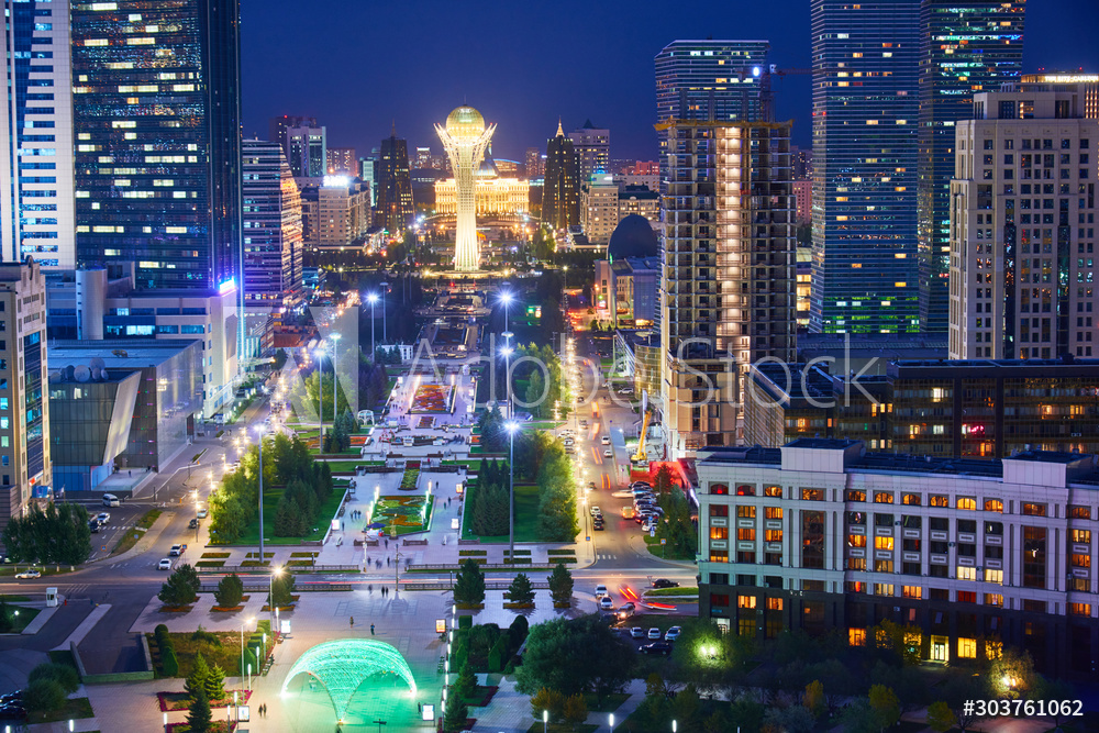 Evening view of the city of Nur Sultan. Nur-Sultan is the capital of Kazakhstan. Center of the Nur-Sultan city.