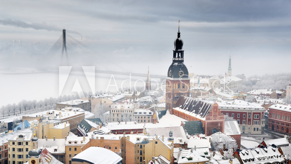 Areal view on Riga cityscape in fog, Latvia