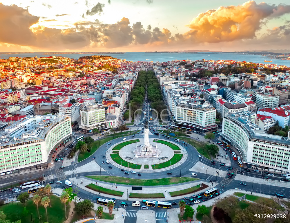 Lisbon aerial skyline panorama european city view on marques pombal square monument, sunset outside crossroads portugal