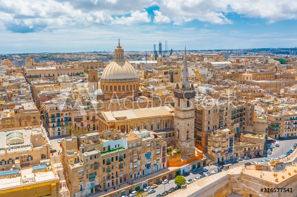 View of Lady of Mount Carmel church, St.Paul's Cathedral in Valletta city center, Malta.