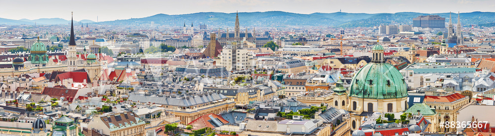 Aerial view of city center of Vienna