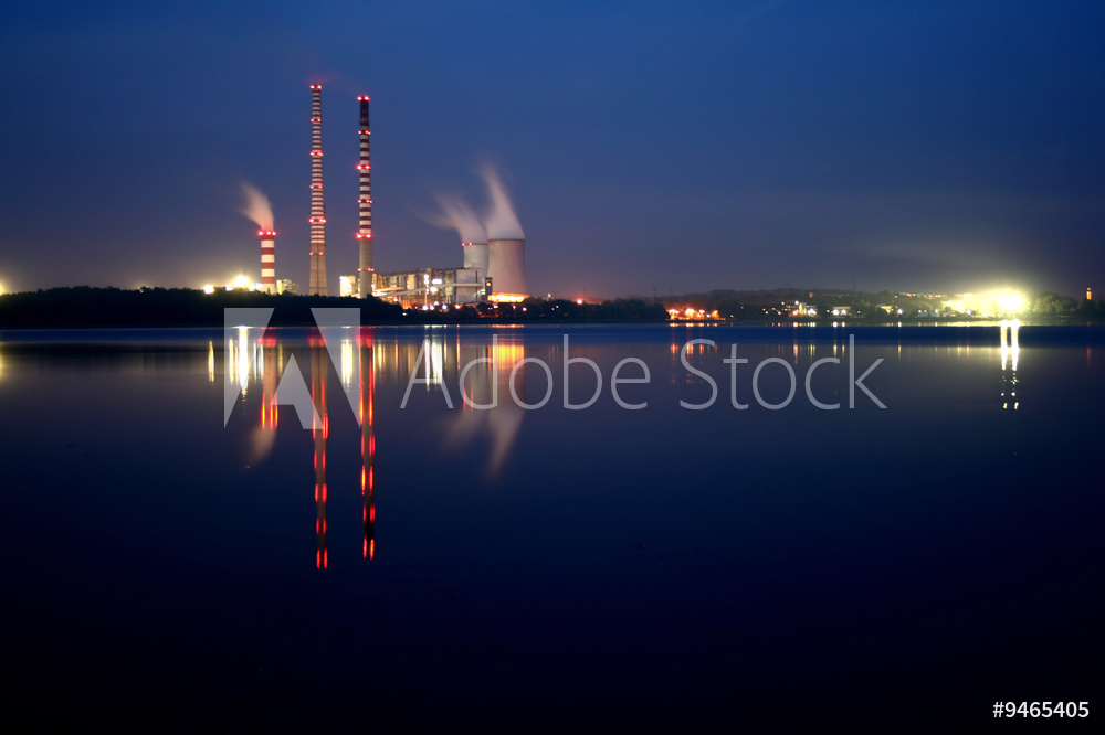 Power station by night