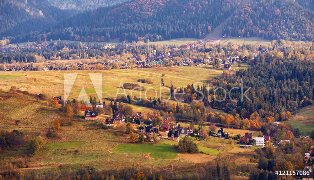 Sunny October day in mountain village. Autumn in Poland
